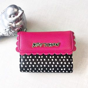 Betsey Johnson Hot Pink & Black Square Wallet